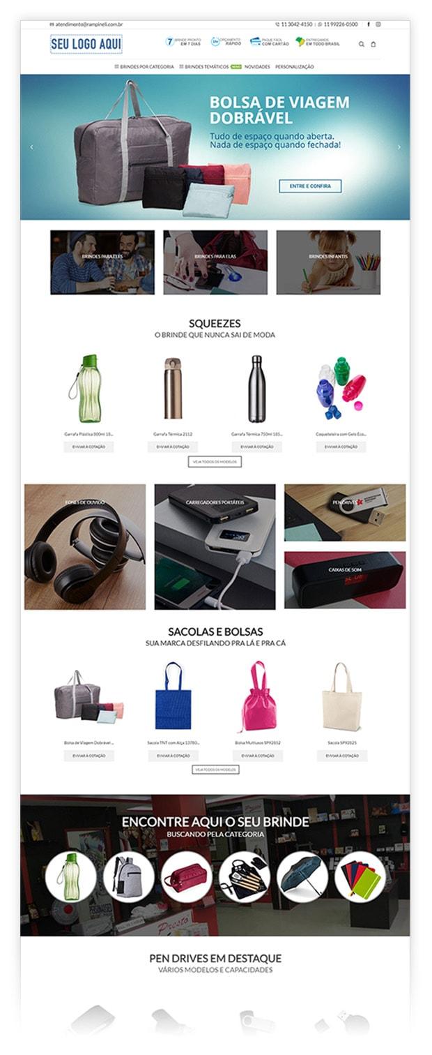 criação de sites parta empresas de brindes - Rampineli